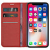 Leather Wallet Case & Card Holder Pouch for Apple iPhone X / Xs - Red